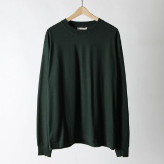 【2018 A/W】【unfil / アンフィル】cotton flannel jersey crewneck pullover DARKGREEN