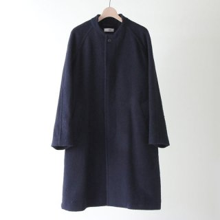 【2018 A/W】【unfil / アンフィル】napped wool-melton collarless coat DARKNAVY
