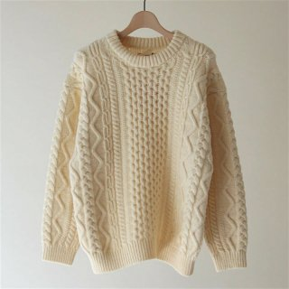【2018 A/W】【unfil / アンフィル】french merino cable-knit sweater NATURAL