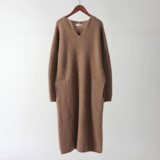 【2018 A/W】【unfil / アンフィル】undid pure camel knit dress BROWNCAMEL
