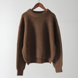 【2018 A/W】【unfil / アンフィル】british wool & silk blend sweater COGNAC