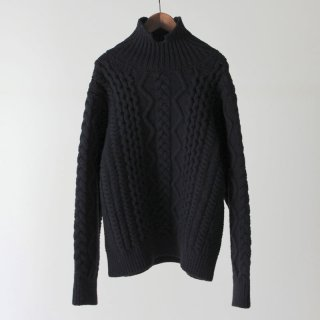 【2018 A/W】【unfil / アンフィル】french merino cable-knit sweater DARKNAVY