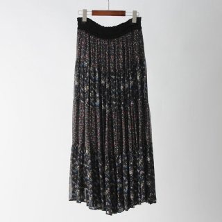 【2018A/W】【ne Quittez pas ヌキテパ】 <br>GEORGETTE FLOWER PANELL LONG SKIRT MULTI