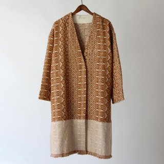 【2018A/W】【ne Quittez pas ヌキテパ】 <br>WOOL JACQUARD WRAP COAT CAMEL