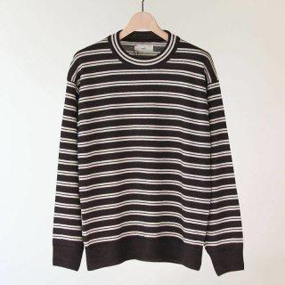【2018 A/W】【unfil / アンフィル】royal baby suri alpaca striped sweater DARK BROWN