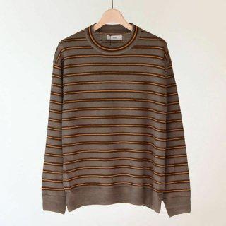 【2018 A/W】【unfil / アンフィル】royal baby suri alpaca striped sweater MOCHA