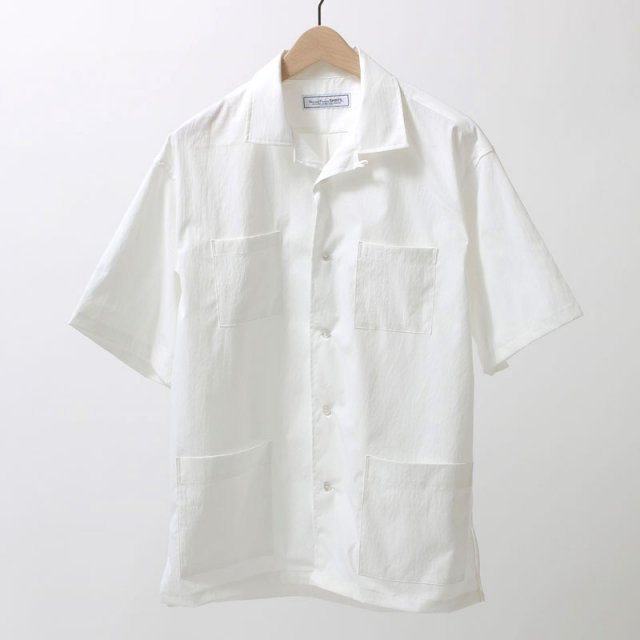 UNIVERSAL PRODUCTS ユニバーサルプロダクツ OPEN COLLAR S/S SHIRT WHITE