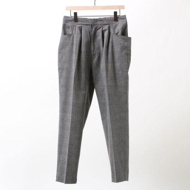 【FINAL PRICE】【35%OFF】【bukht】2-TUCK L POCKET TROUSERS - GLEN CHECK FAB - WHITE×BLACK