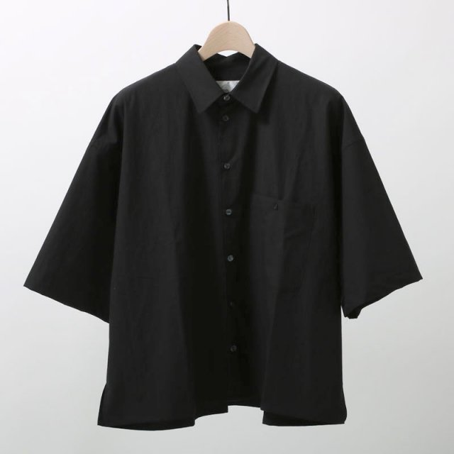【2019S/S】【bukht】LOOSE SHIRTS S/S  - PAPER TOUCH FAB - BLACK