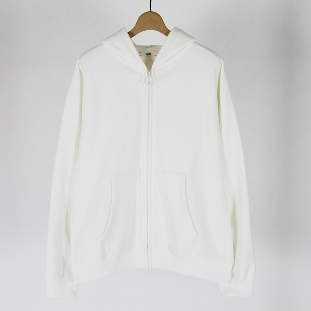 【2019S/S】【unfil / アンフィル】cotton-terry zip up hoodie WHITE