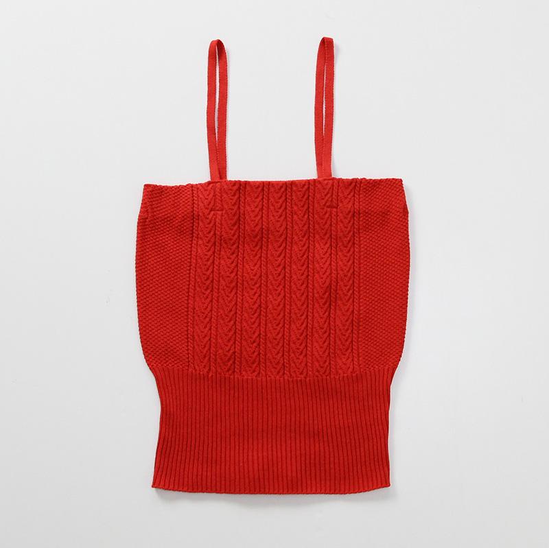【7月13日再値下げ!25%OFF】 unfil アンフィル high twist cotton cable-knit cami red