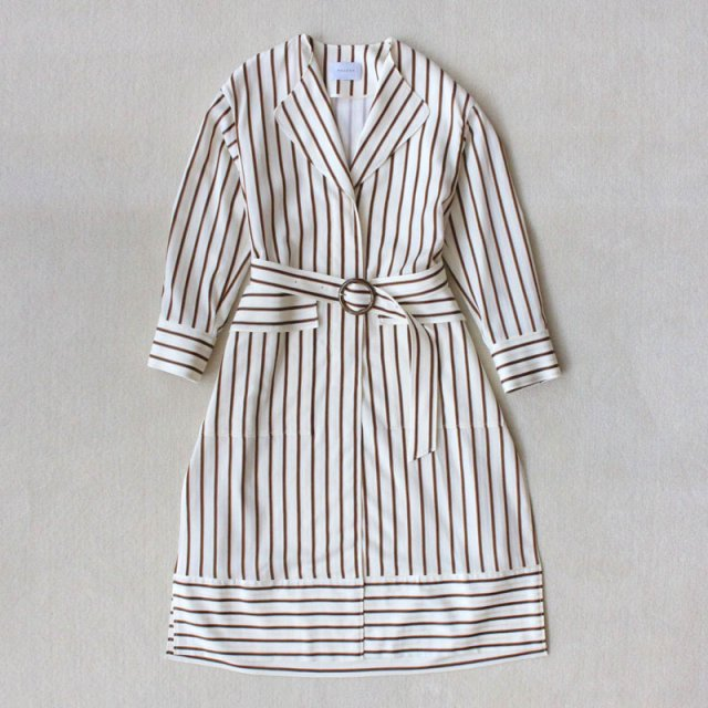 【2019S/S】【PHEENY / フィーニー】Cotton cupro stripe no collar coat