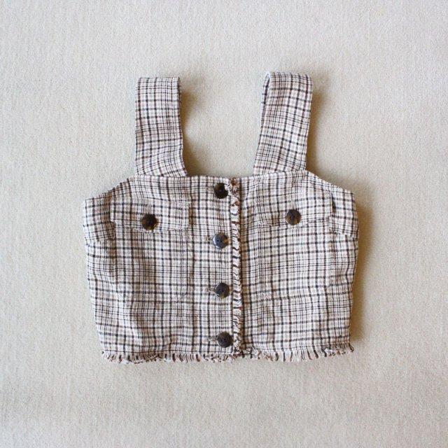 【8月1日再値下げ】【60%OFF】【PHEENY / フィーニー】Linen check camisole tops