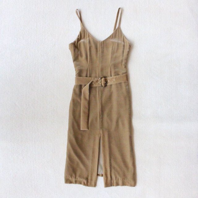 【FINAL PRICE】【30%OFF】【PHEENY / フィーニー】Velvet front slit dress CAMEL
