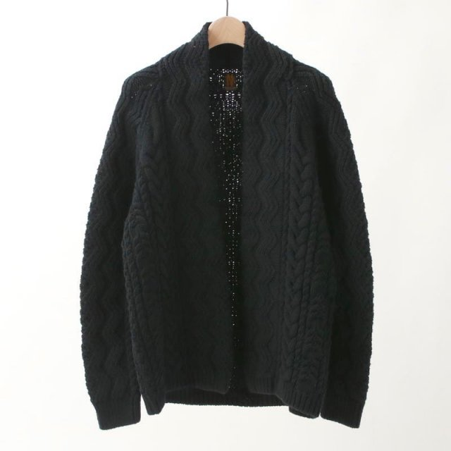 【2019A/W】【BATONERバトナーメンズ】COUNTER WOOL ALAN SHOWL COLLAR CARDIGAN BLACK