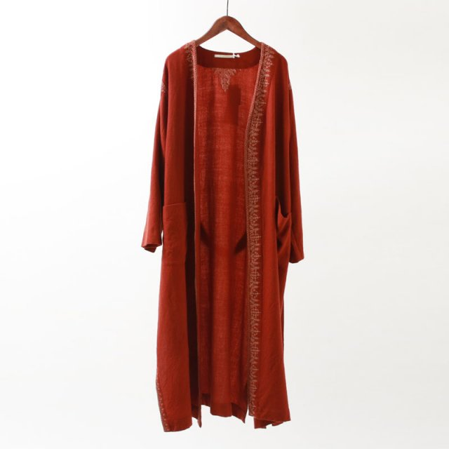 【2019 A/W】【ne Quittez pas ヌキテパ】WOOL EMB GOWN COAT BRICK
