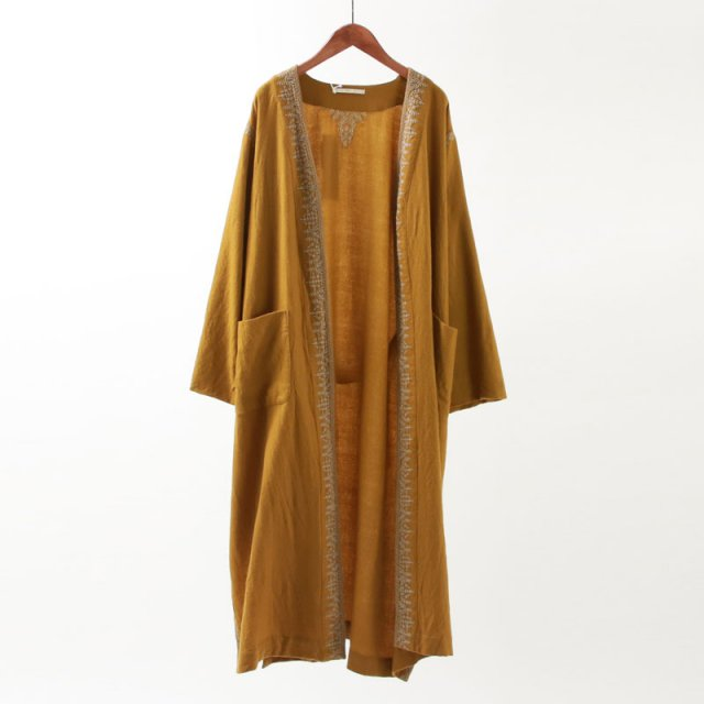 【2019 A/W】【ne Quittez pas ヌキテパ】WOOL EMB GOWN COAT MUSTARD