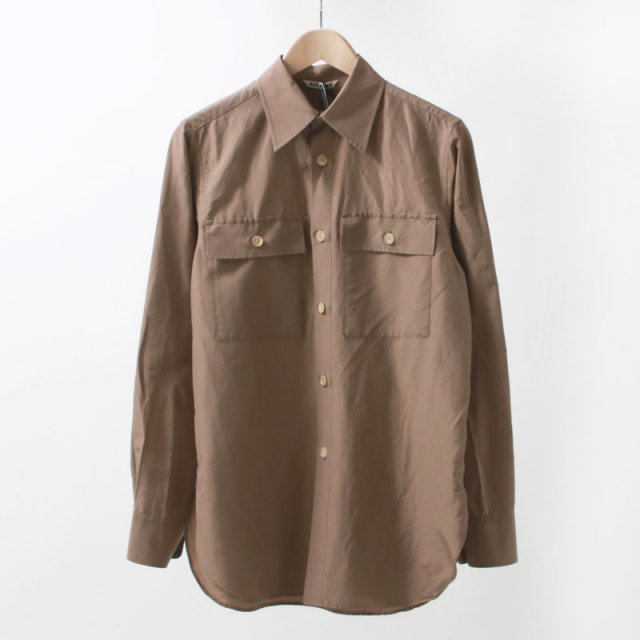 【2020 S/S】【AURALEE オーラリーレディース】SILK COTTON CLOTH BIG SHIRTS LIGHT BROWN