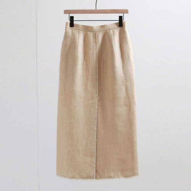 【2020 S/S】【AURALEE オーラリーレディース】LINEN DOUBLE FACE FRINGE SKIRT LIGHT BEIGE