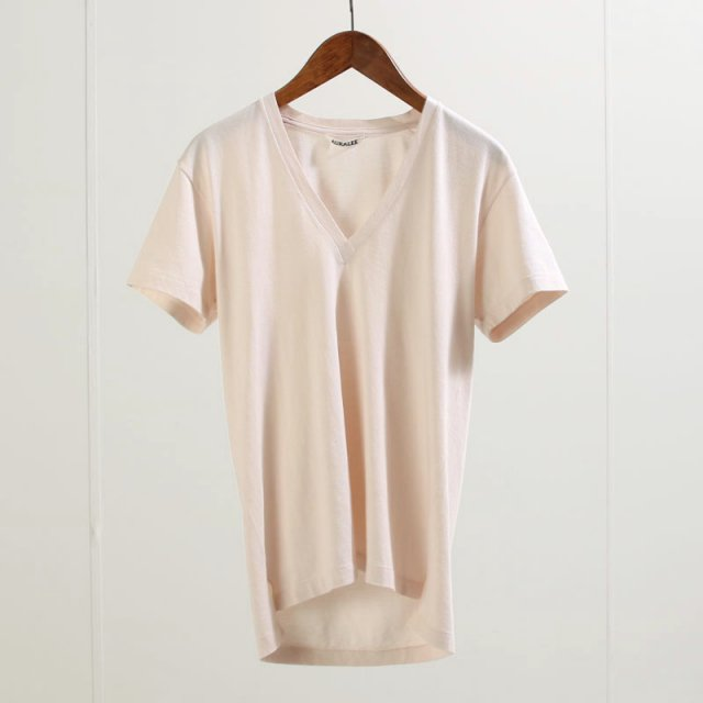 【2020 S/S】【AURALEE オーラリーレディース】SEAMLESS V-NECK TEE LIGHT PINK
