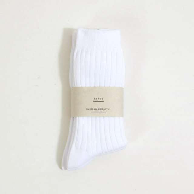 【2020 A/W】【UNIVERSAL PRODUCTS ユニバーサルプロダクツ】3P COLOR SOCKS WHITE