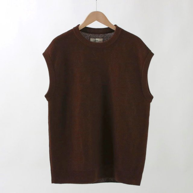 【2020S/S】【unfil / アンフィル】FRENCH LINEN HONEYCOMB KNIT VEST BROWN MIX