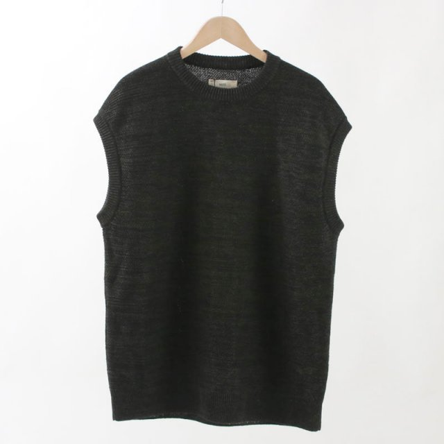 【2020S/S】【unfil / アンフィル】FRENCH LINEN HONEYCOMB KNIT VEST BLACK MIX