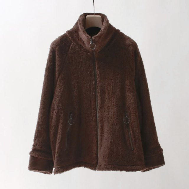 【60%OFF】【bukht ブフト】STAND NECK BOA BLOUSON -ORGANIC COTTON- BROWN