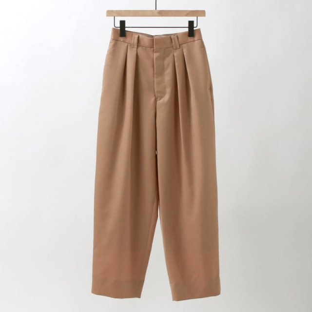 【35%OFF】【Phlannel フランネル】Wool Mohair 2-tuck Tapered Trousers CAMEL