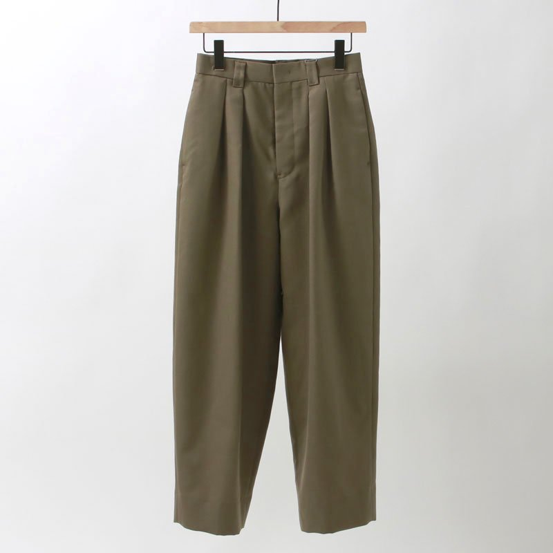 【2020 S/S】【Phlannel フランネル】Wool Mohair 2-tuck Tapered Trousers KHAKI