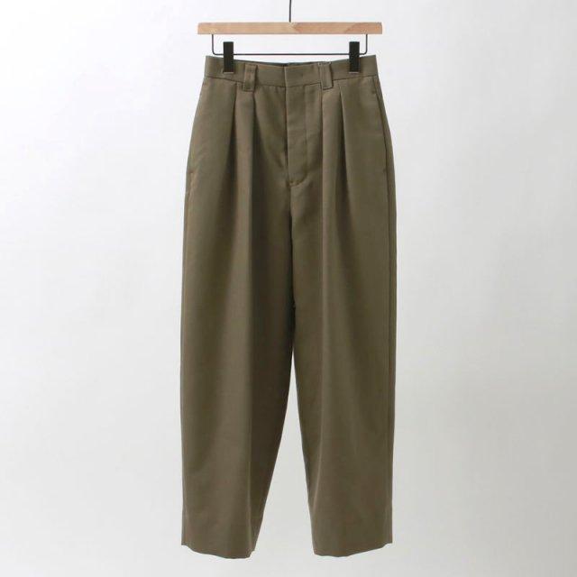 【8月11日 FINAL PRICE】【35%OFF】【2020 S/S】【Phlannel フランネル】Wool Mohair 2-tuck Tapered Trousers KHAKI