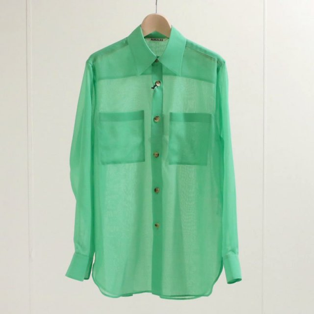 【2020 A/W】【AURALEE オーラリーレディース】WOOL RECYCLE POLYESTER SHEER CLOTH SHIRT GREEN