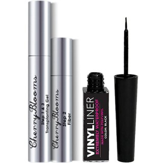 Cherry Blooms Fiber Lash Extensions + Waterproof Liquid Eyeliner チェリーブルームス 塗る睫毛エクステセット+アイライナー