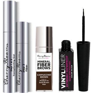 Cherry Blooms Fiber Lashes + Fiber Brows Kit + Free Waterproof Eyeliner チェリーブルームス エクステ+眉マスカラ+アイライナー
