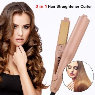 UKLISS Titanium Flat Irons Hair Straightener Curling Iron チタニウム プロ用2wayストレートヘアアイロン