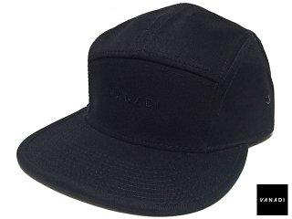 VANADI EMBROIDERED LOGO 5 PANEL CAP BLACK<BR>ヴァナディ エンブロイダード ロゴ 5 パネル キャップ ブラック
