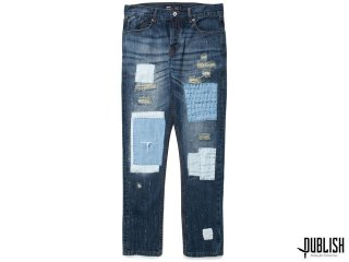 【DENIM COLLECTION】PUBLISH BRAND SNYDER PATCHWORK INDIGO STONE WASH DENIM PANTS