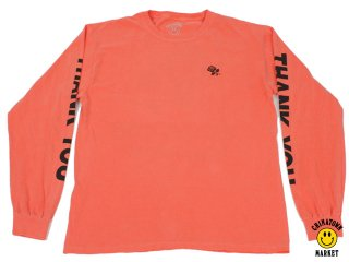 CHINATOWN MARKET THANK YOU LONG SLEEVE TEE SALMON<BR>チャイナタウンマーケット サンキュー ロングスリーブ ティー サーモン