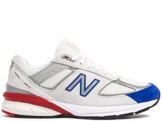 NEW BALANCE M990NB5 V5 GREY/RED/BLUE MADE IN THE USA<BR>ニューバランス ホワイト レッド ブルー アメリカ製 Dワイズ