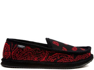 TROOPER AMERICA HOUSE SHOES PAISLEY CANVAS EMBROIDERY BLACK/RED<BR>トゥルーパー アメリカ ハウスシューズ ペイズリー