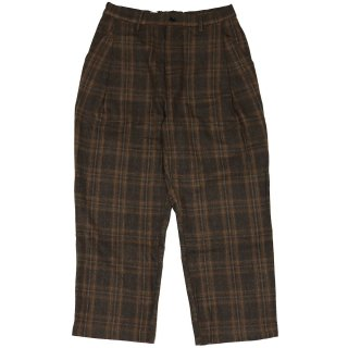 KEBOZ WOOL BLEND CHECK PANT BROWN