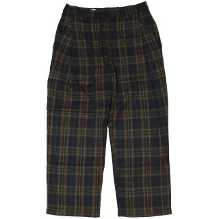 KEBOZ WOOL BLEND CHECK PANT NAVY