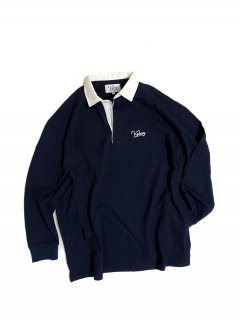 KEBOZ L/S RUGGER SHIRTS NAVY/WHITE