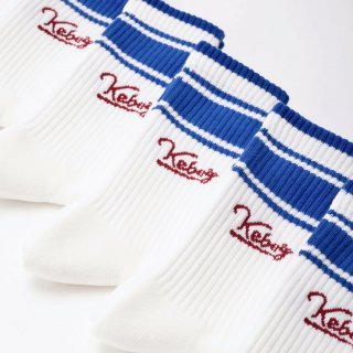 ROSTER SOX x KEBOZ x PASSOVER LINE LOGO SOCKS 2.0 MADE IN JAPAN WHITE/BLUE/BURGUNDY