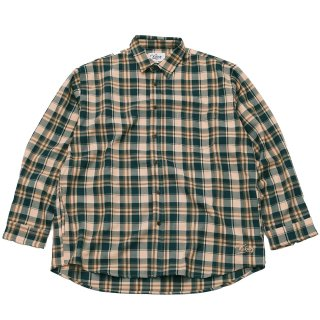 KEBOZ AUTUMN CHECK SHIRTS GREEN/ORANGE