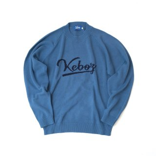 KEBOZ COTTON KNIT SWEATER SLATE BLUE/NAVY