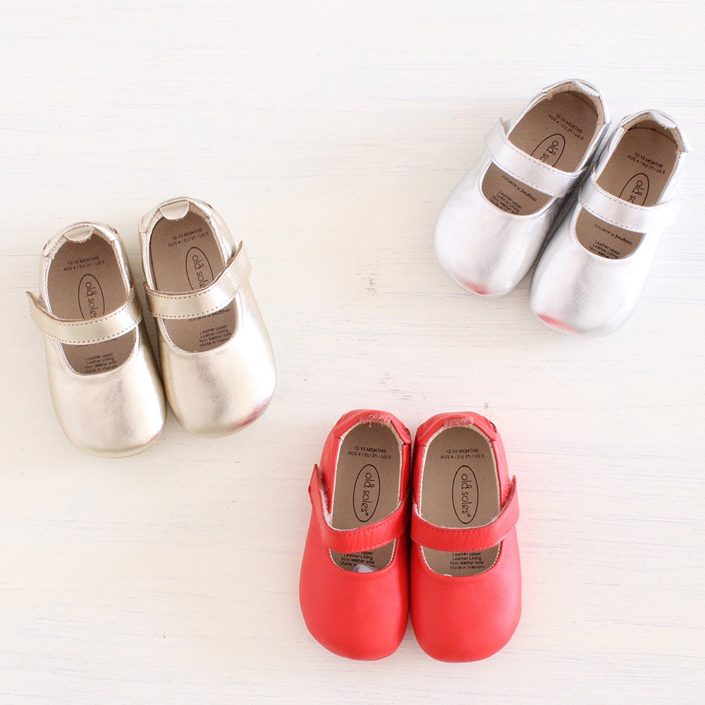 【20%OFF セール】old soles(オールドソールズ)<br>Gabrielle ベビーバレエシューズ <BR>bright red、gold、silver