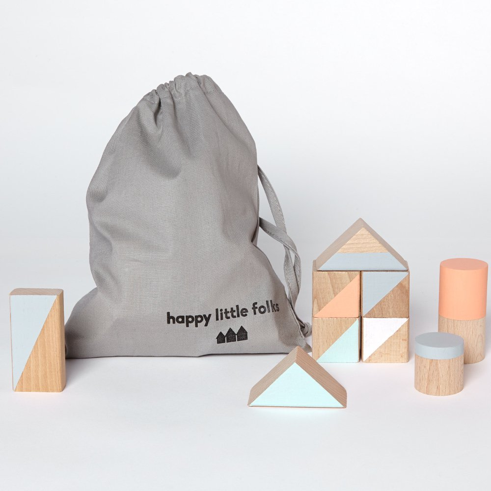 happy little folks(ハッピーリトルフォークス)<br> wooden blocks(木製ブロック) <BR> Pastle colours