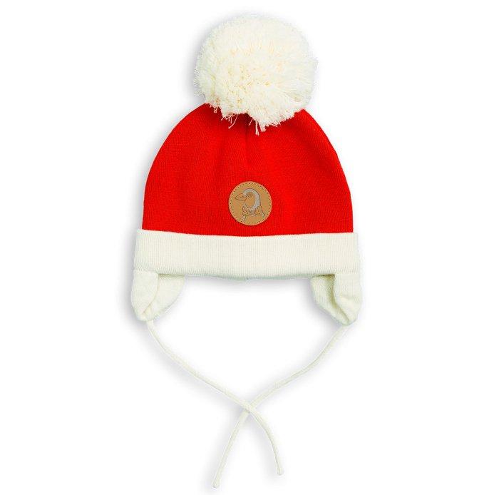 【50%OFF セール】mini rodini(ミニロディーニ) 2017AW<br>PENGUIN BABY HAT<br>red<BR>ペンギン ベビーハット<BR>赤白ニット帽