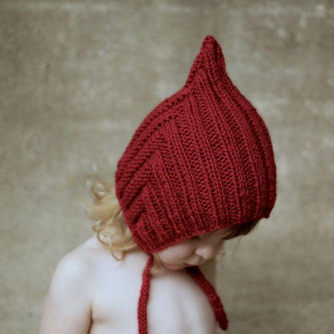 【20%OFFセール】Typically Red(ティピカリーレッド)<br>Chubby Pixie hat <BR>Red<BR>ボンネット ニット帽